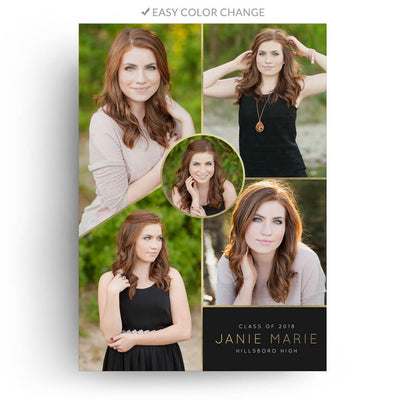 Black and Gold | Senior Graduation Card - 3 Dollar Photoshop Templates for Photographers