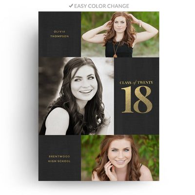 Block | Senior Graduation Card - 3 Dollar Photoshop Templates for Photographers