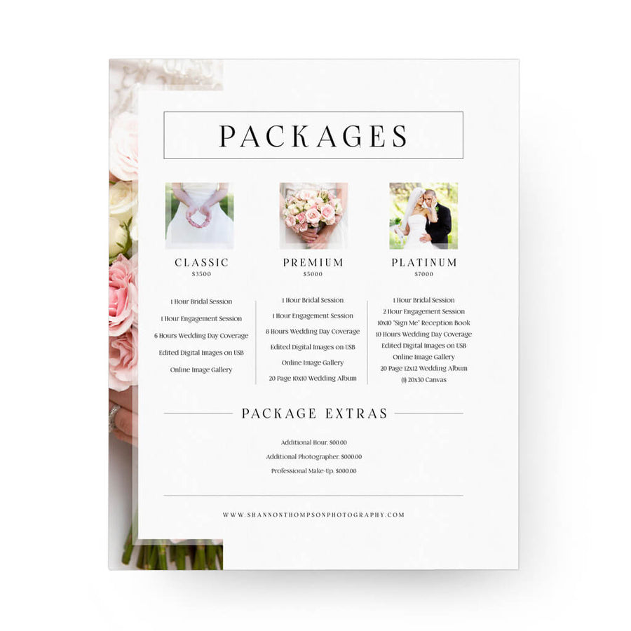 Blush 8x10 Image Folio Pricing Menu - 3 Dollar Photoshop Templates for Photographers
