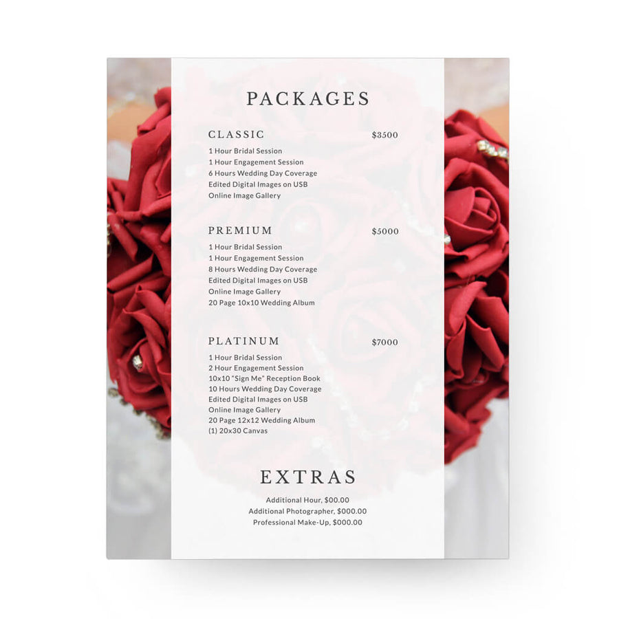 Classic 8x10 Image Folio Pricing Menu - 3 Dollar Photoshop Templates for Photographers