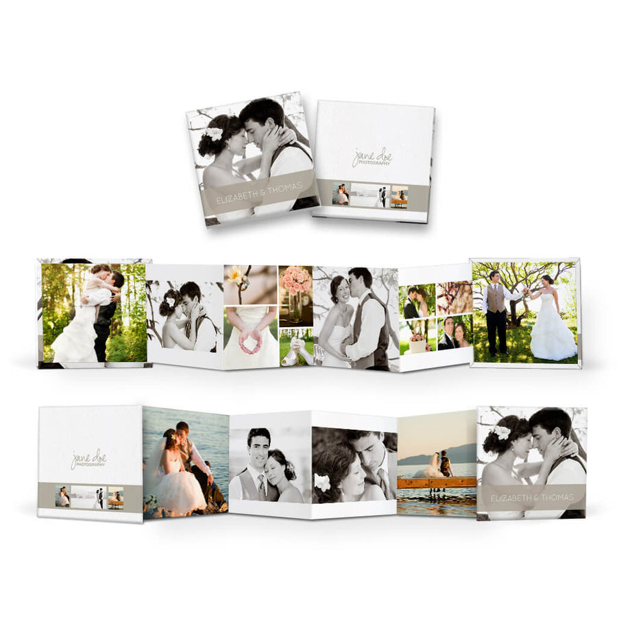 Classic II | Square Accordion Mini Book - 3 Dollar Photoshop Templates for Photographers