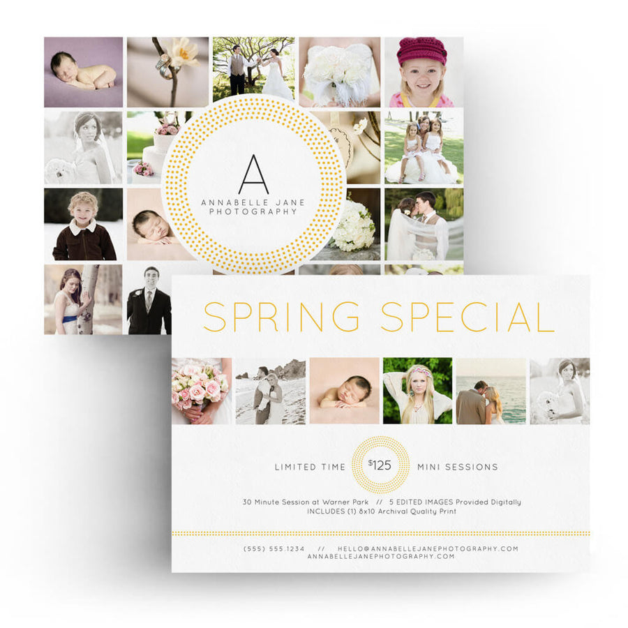 Classy | 5x7 Marketing Postcard - 3 Dollar Photoshop Templates for Photographers