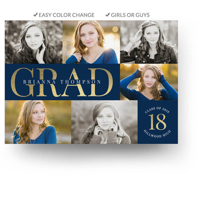 Classy Grad | Senior Graduation Card - 3 Dollar Photoshop Templates for Photographers