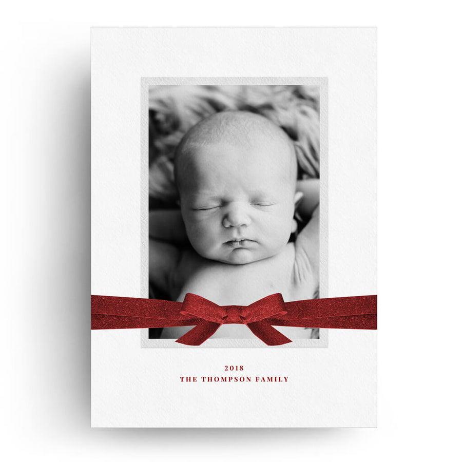 Corner Bow | Christmas Card - 3 Dollar Photoshop Templates for Photographers