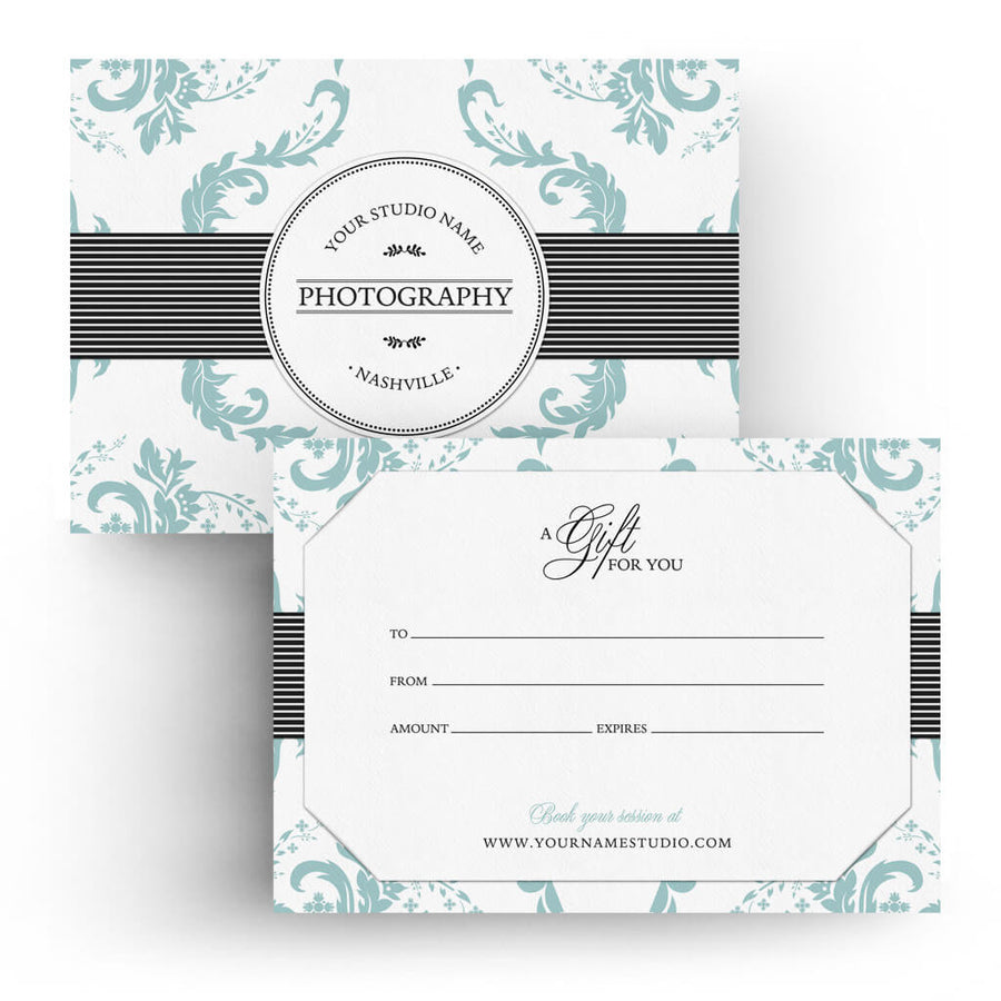 Elegance | 5x7 Gift Certificate - 3 Dollar Photoshop Templates for Photographers