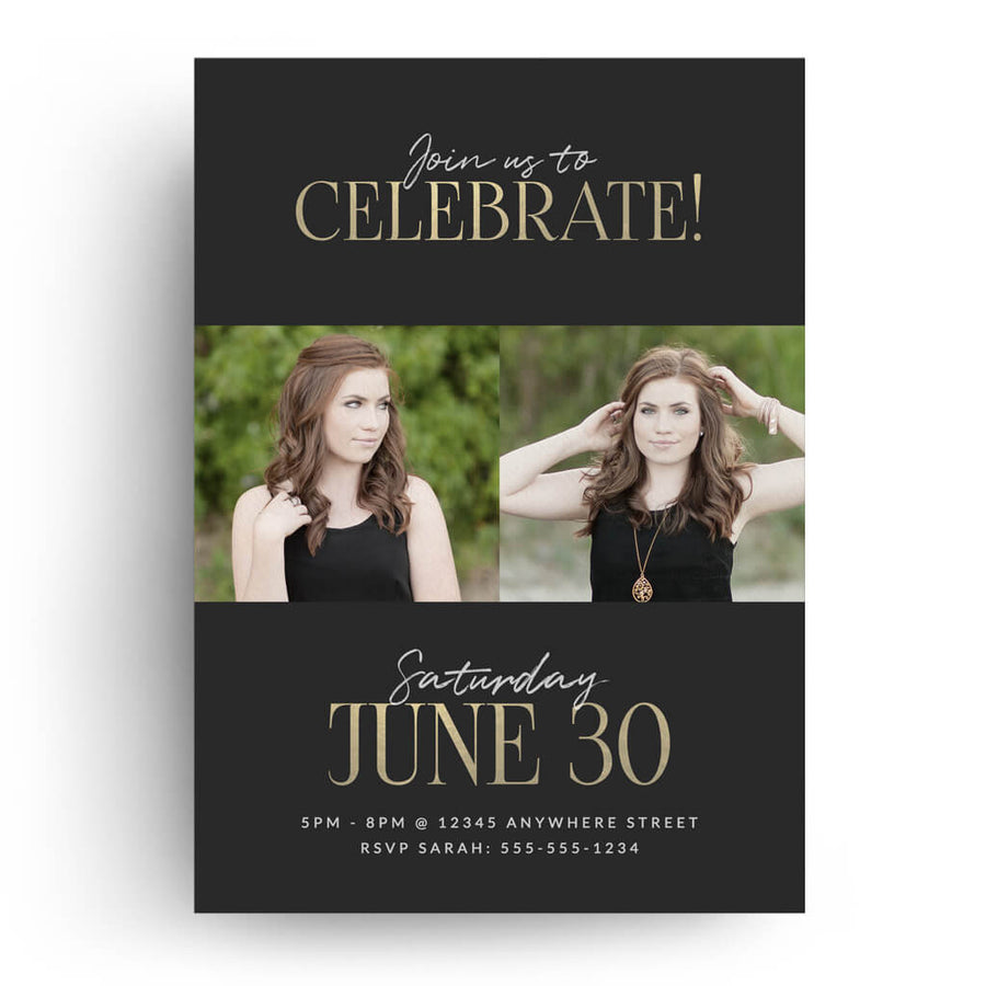 Elegant | Senior Graduation Card - 3 Dollar Photoshop Templates for Photographers