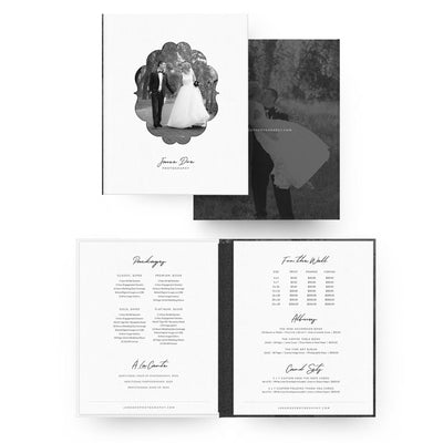 Elegant 8x10 Image Folio Pricing Menu - 3 Dollar Photoshop Templates for Photographers
