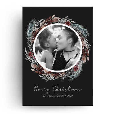 Elegant Wreath | Christmas Card - 3 Dollar Photoshop Templates for Photographers
