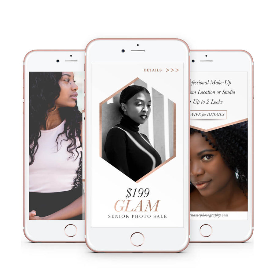 Glam | Instagram Story Template Set - 3 Dollar Photoshop Templates for Photographers
