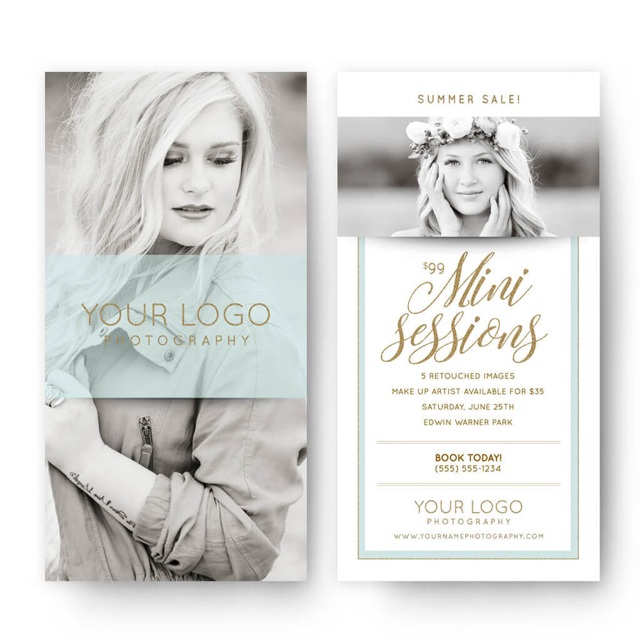 Glitter Ice | 4x8 Marketing Postcard - 3 Dollar Photoshop Templates for Photographers
