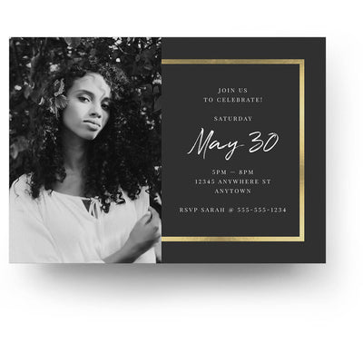 Gold Edges | Senior Graduation Card - 3 Dollar Photoshop Templates for Photographers