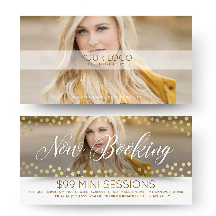 Gold Dots | 4x8 Marketing Postcard - 3 Dollar Photoshop Templates for Photographers
