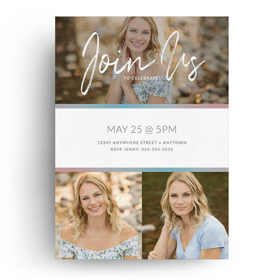 Gradient Frame | Senior Graduation Card - 3 Dollar Photoshop Templates for Photographers