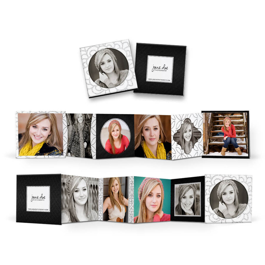 Isabella | Square Accordion Mini Book - 3 Dollar Photoshop Templates for Photographers
