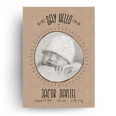 Jacob | Birth Announcement Card - 3 Dollar Photoshop Templates for Photographers