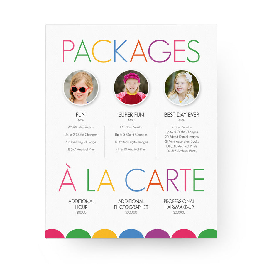 Kids 8x10 Image Folio Pricing Menu
