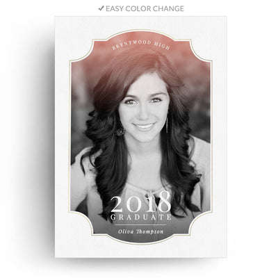 Ornate | Senior Graduation Card - 3 Dollar Photoshop Templates for Photographers