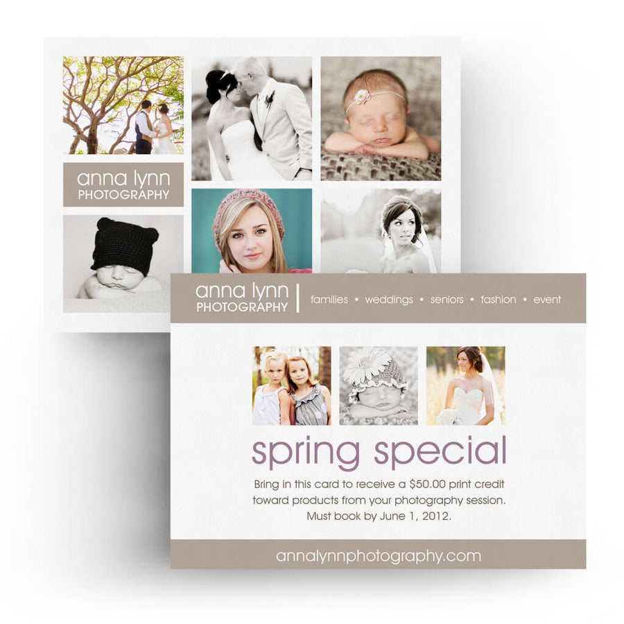Pure | 5x7 Marketing Postcard - 3 Dollar Photoshop Templates for Photographers