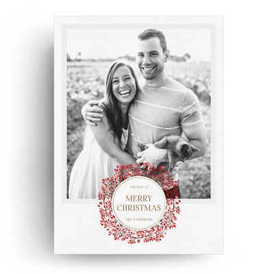 Red Wreath | Christmas Card - 3 Dollar Photoshop Templates for Photographers
