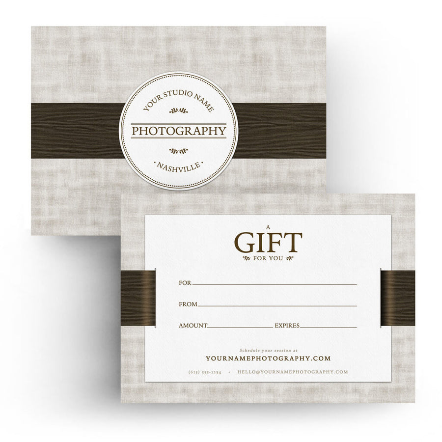 Ribbon | 5x7 Gift Certificate - 3 Dollar Photoshop Templates for Photographers