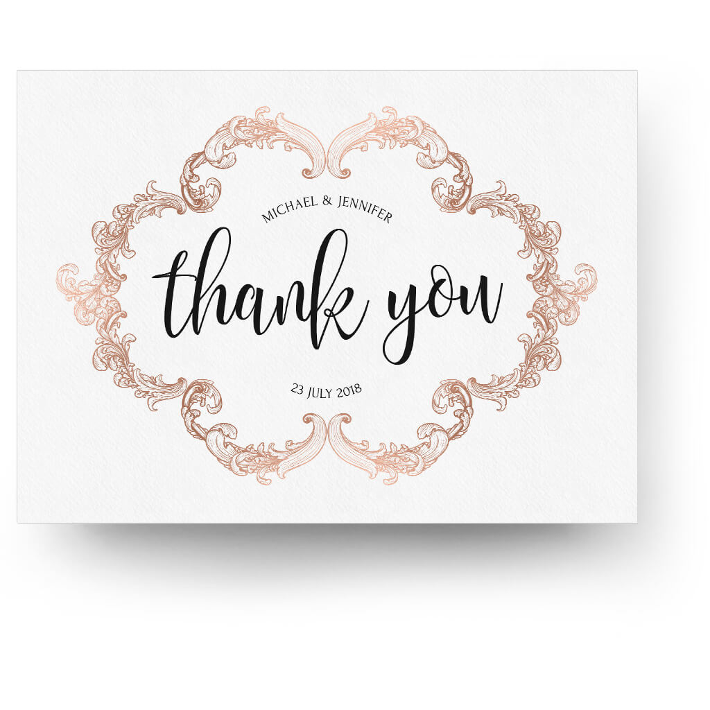 Design A House Free Rose Gold 5x7 Folding Thank You Card 3 Dollar Templates