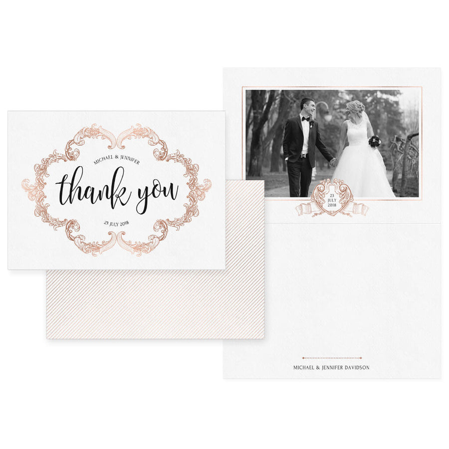 Rose Gold | 5x7 Folding Thank You Card - 3 Dollar Photoshop Templates for Photographers