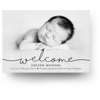 Say Hello Horizontal | Birth Announcement Card - 3 Dollar Photoshop Templates for Photographers