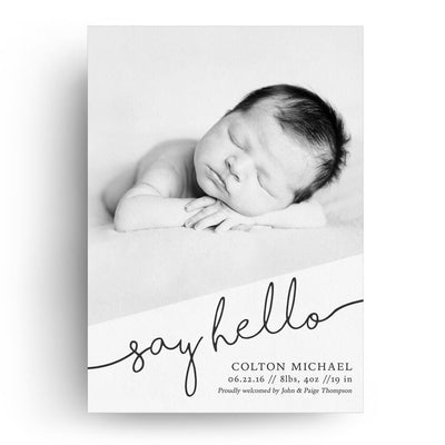 Say Hello Vertical | Birth Announcement Card - 3 Dollar Photoshop Templates for Photographers