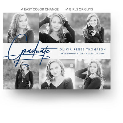 Scholar | Senior Graduation Card - 3 Dollar Photoshop Templates for Photographers