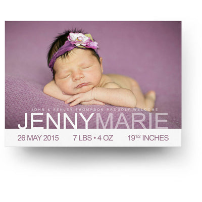 Simplicity | Birth Announcement Card - 3 Dollar Photoshop Templates for Photographers