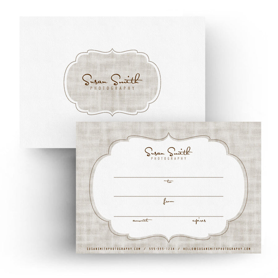 Textured | 5x7 Gift Certificate - 3 Dollar Photoshop Templates for Photographers
