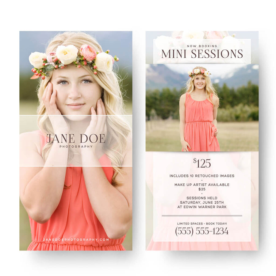 Timeless | 4x8 Marketing Postcard - 3 Dollar Photoshop Templates for Photographers
