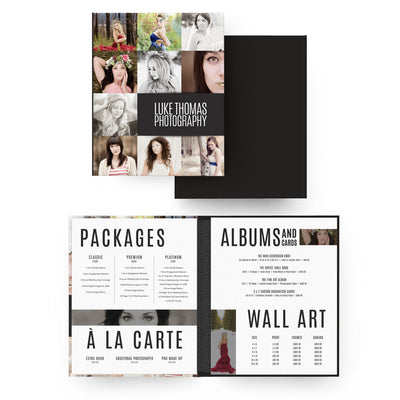 Type 8x10 Image Folio Pricing Menu - 3 Dollar Photoshop Templates for Photographers