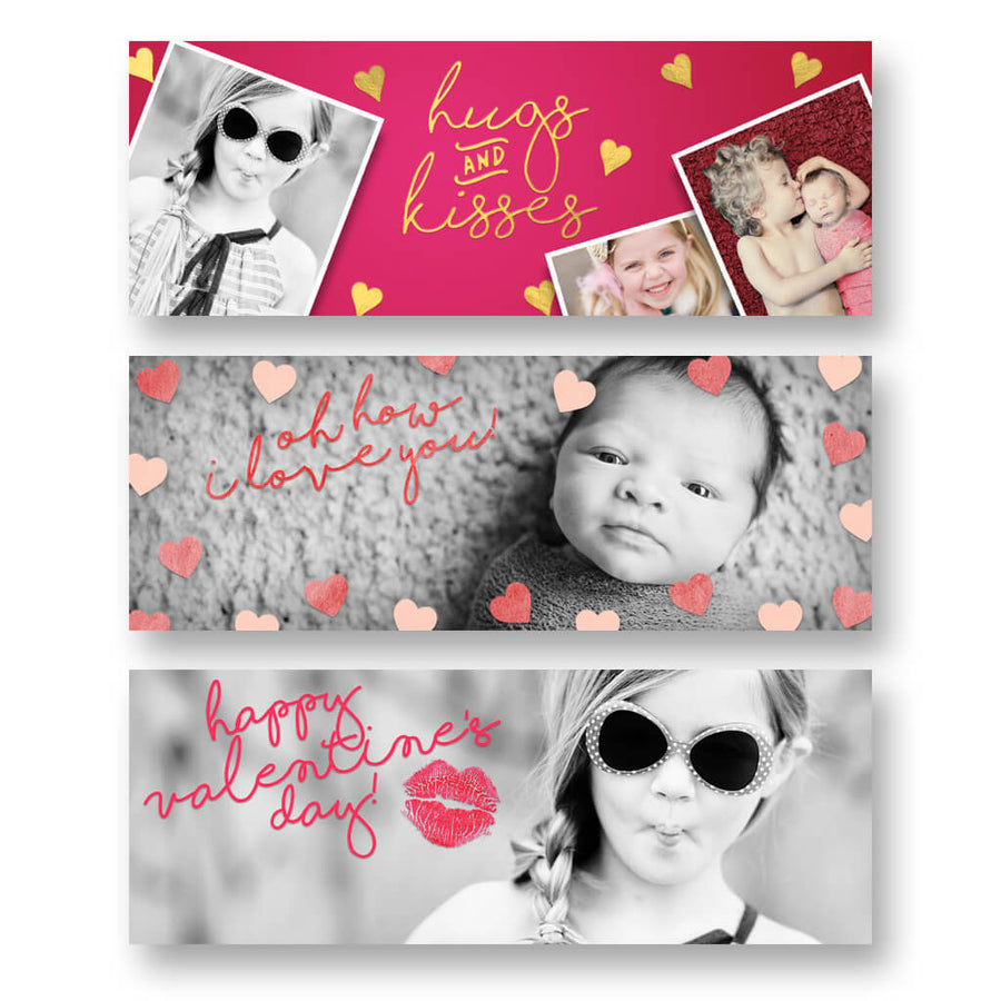 Valentine Set of 6 | Facebook Cover - 3 Dollar Photoshop Templates for Photographers