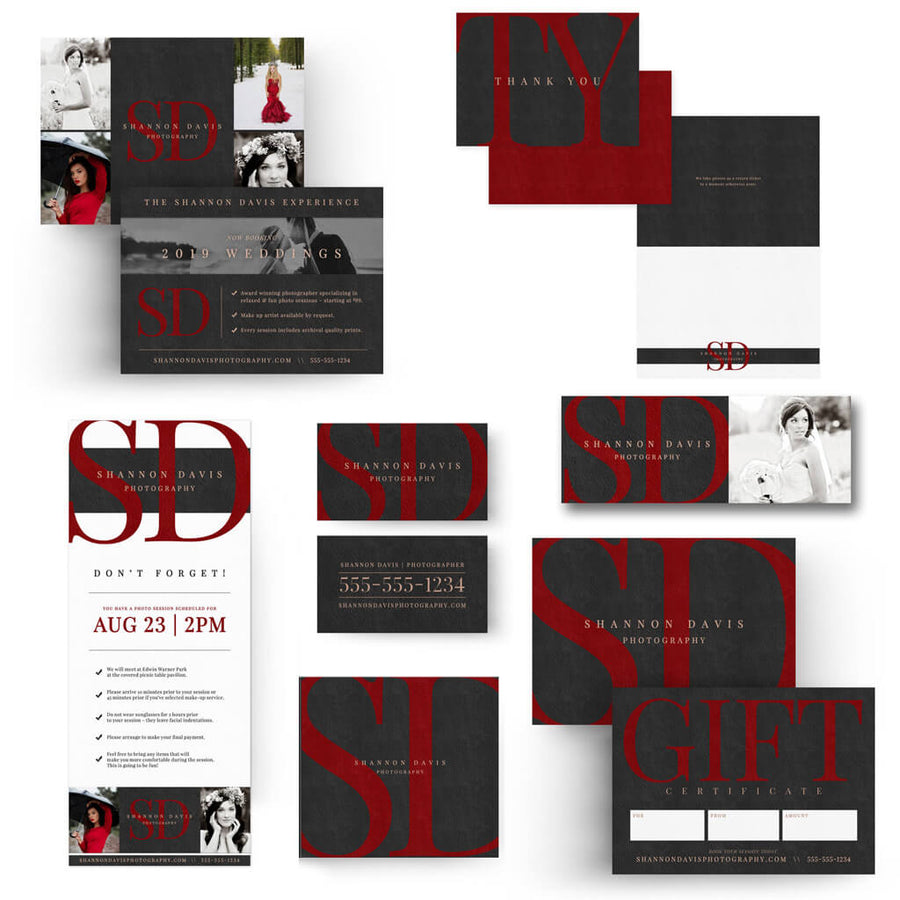 Velvet Photographer Branding Set - 3 Dollar Photoshop Templates for Photographers