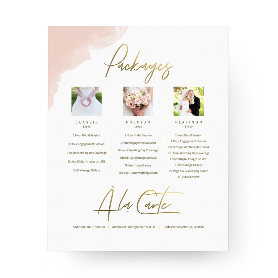 Watercolor 8x10 Image Folio Pricing Menu - 3 Dollar Photoshop Templates for Photographers