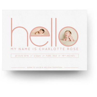 White Collection Card 10 | Birth Announcement Card - 3 Dollar Photoshop Templates for Photographers