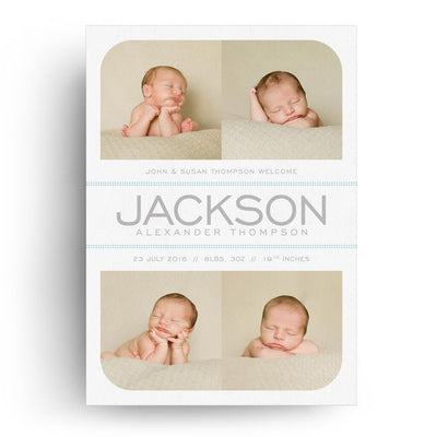 White Collection Card 3 | Birth Announcement Card - 3 Dollar Photoshop Templates for Photographers