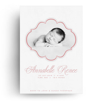 White Collection Card 4 | Birth Announcement Card - 3 Dollar Photoshop Templates for Photographers