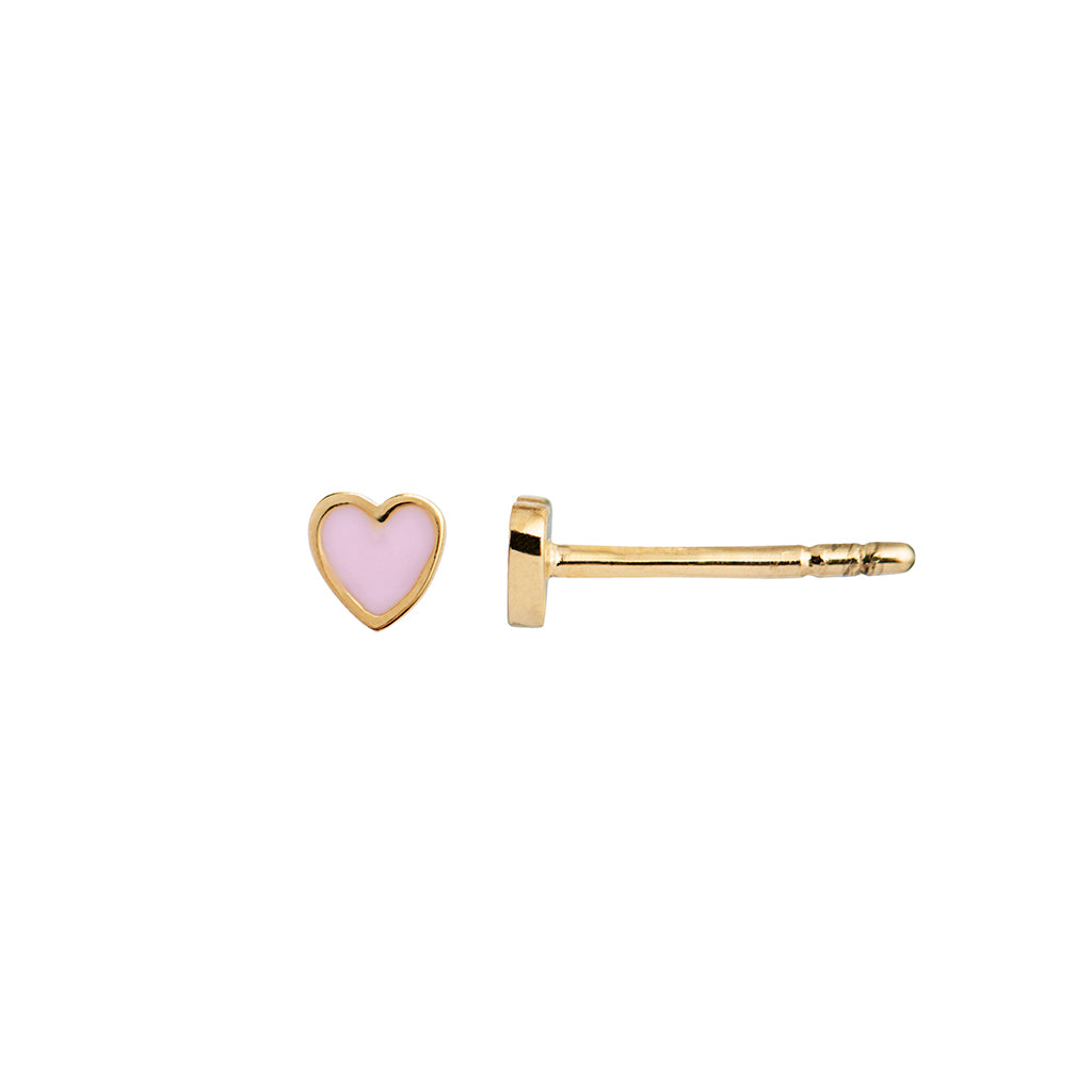 Stine A Petit Love Heart Light Pink Forgyldt Ørering
