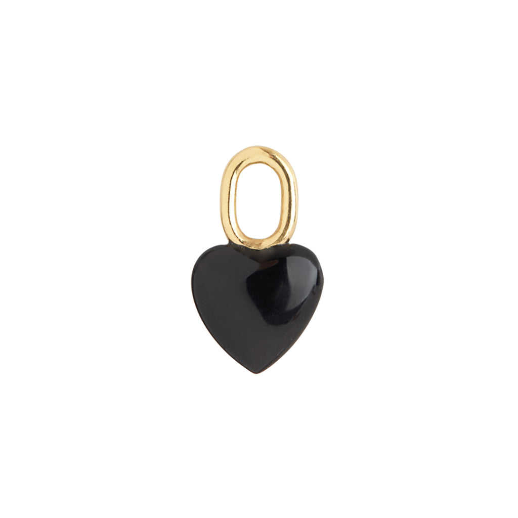 Maria Black Onyx Heart Forgyldt Vedhæng