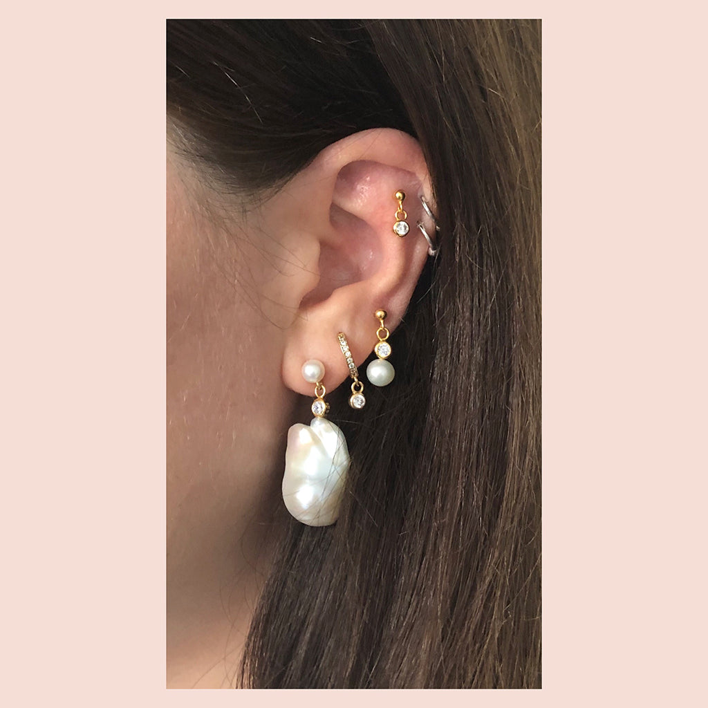 The Earring Shop Crystal Stud Forgyldt ørering 2