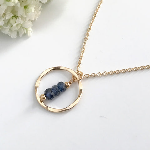 Dainty Sapphire Eternity or Karma Circle Necklace - September Birthstone