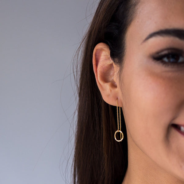 Hammered Circle Dainty Threader Earrings - 14k Gold Filled