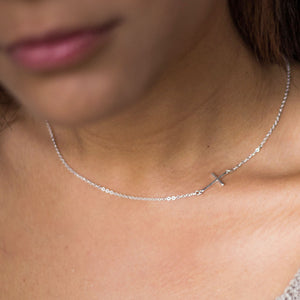 Sterling Silver Sideway Cross Necklace