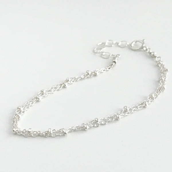Dainty Double Strand Bracelet in Sterling Silver or 14k Gold Fill