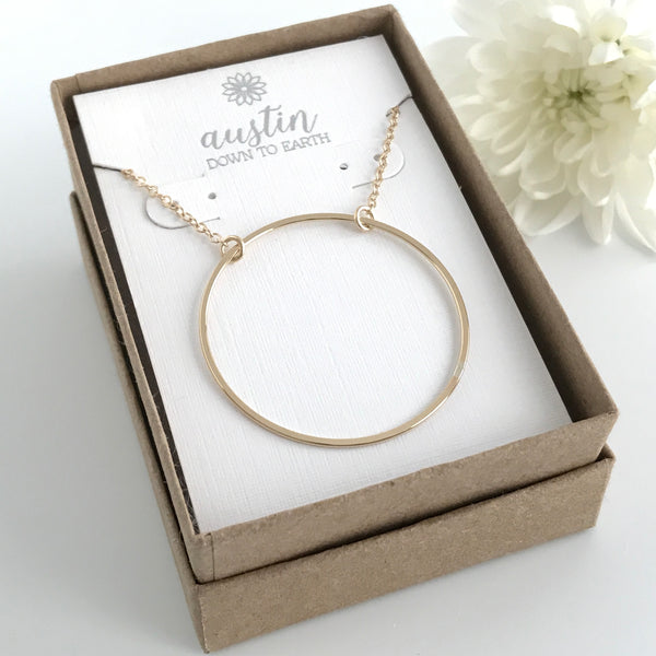 Large Gold Circle Necklace - Also Available in Sterling Silver