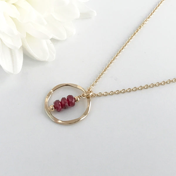 Dainty Ruby Eternity Circle Necklace
