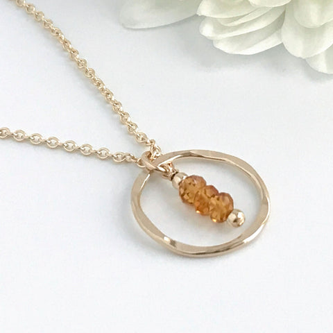 Dainty Citrine Circle Necklace