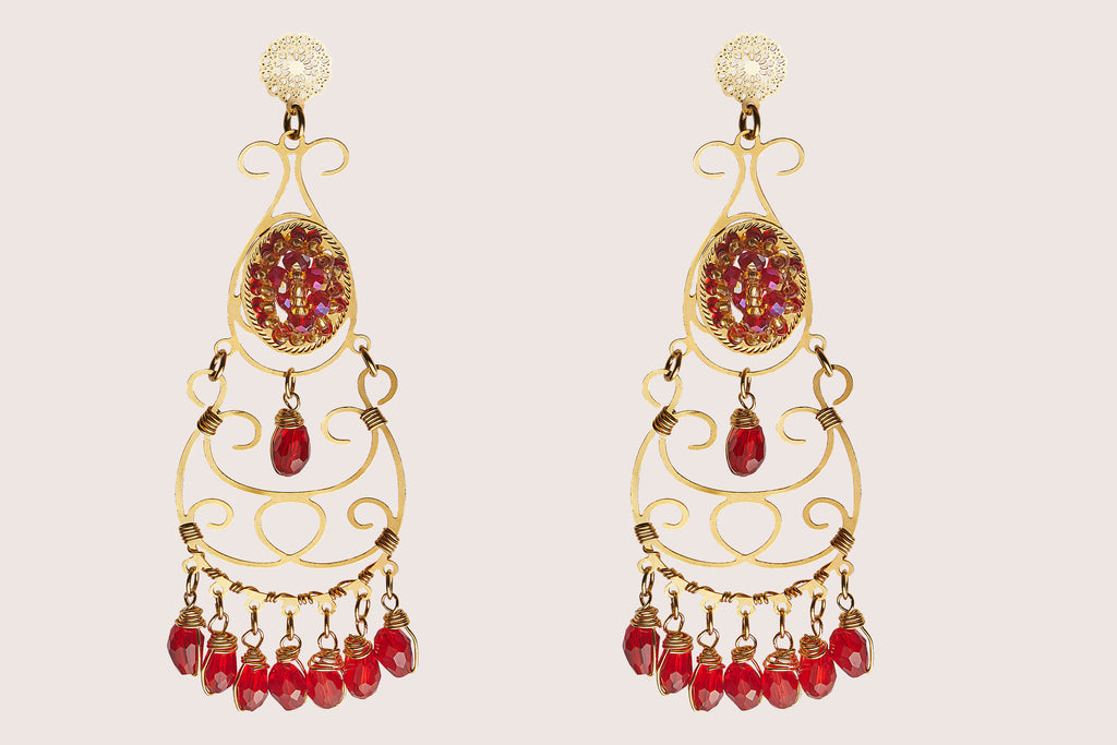 Aretes Amrit rouge